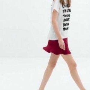Zara Frill Retro Jacquard Mini Peplum Skirt